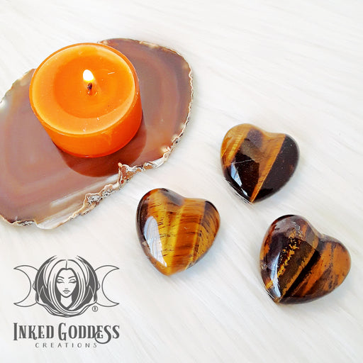 Tiger's Eye Gemstone Heart for Protection, Focus & Self Confidence