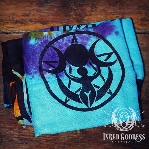 Triple Moon Goddess Tie Dye Altar Cloth