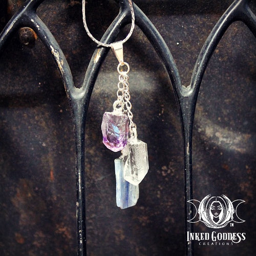Trinity Necklace- Kyanite, Amethyst and Clear Quartz