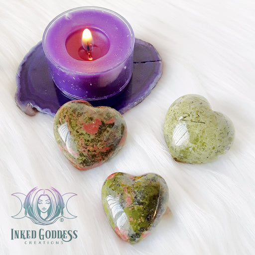 Unakite Gemstone Heart for Balance and Rebirth
