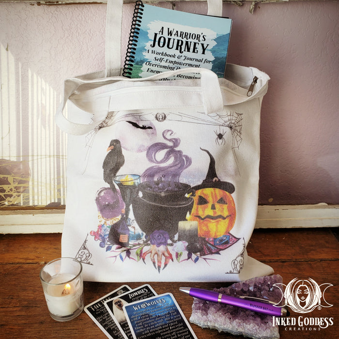 Halloween Canvas Tote Bags- Inked Goddess Creations
