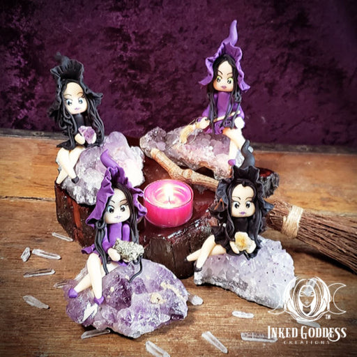 Witch on Amethyst Cluster Statue