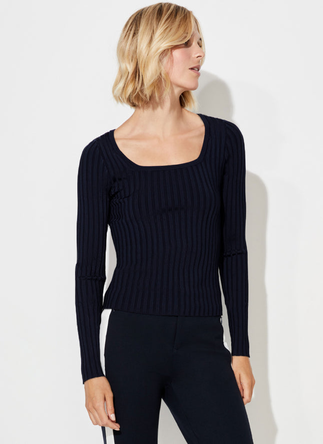 Slim Rib Scoop Neck Sweater
