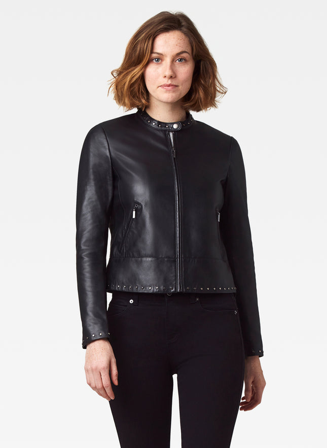 Leather Zip Jacket with Nailhead Detail