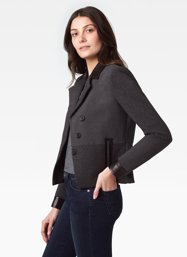 Stretch Knit Jacket with Leather