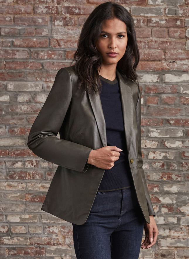 Leather Blazer with Whipstitch