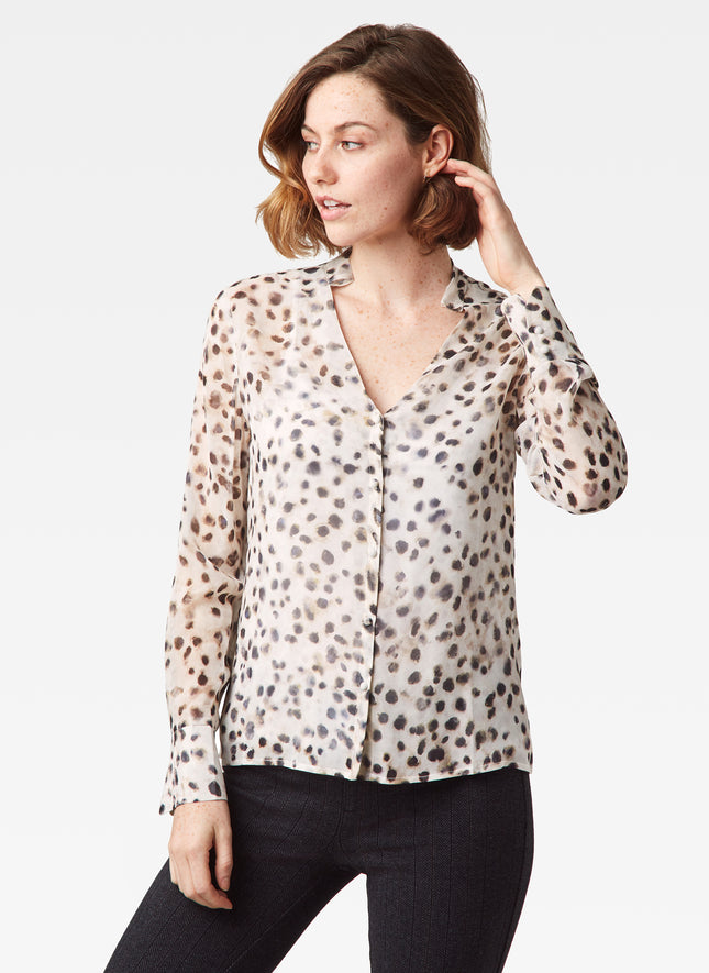 Weaver V-Neck Blouse with Removable Tie
