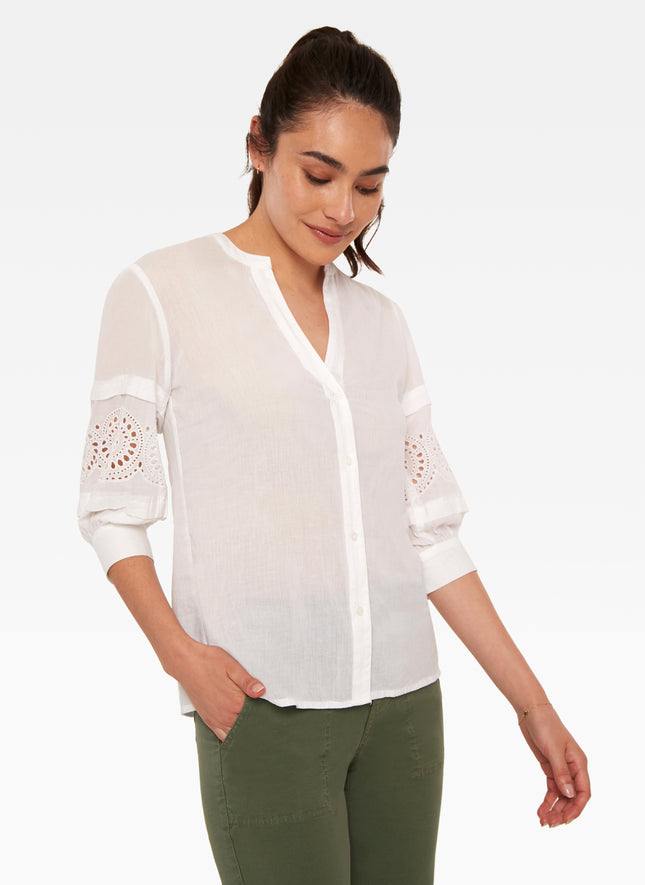 Posey Puff Sleeve Inset Blouse