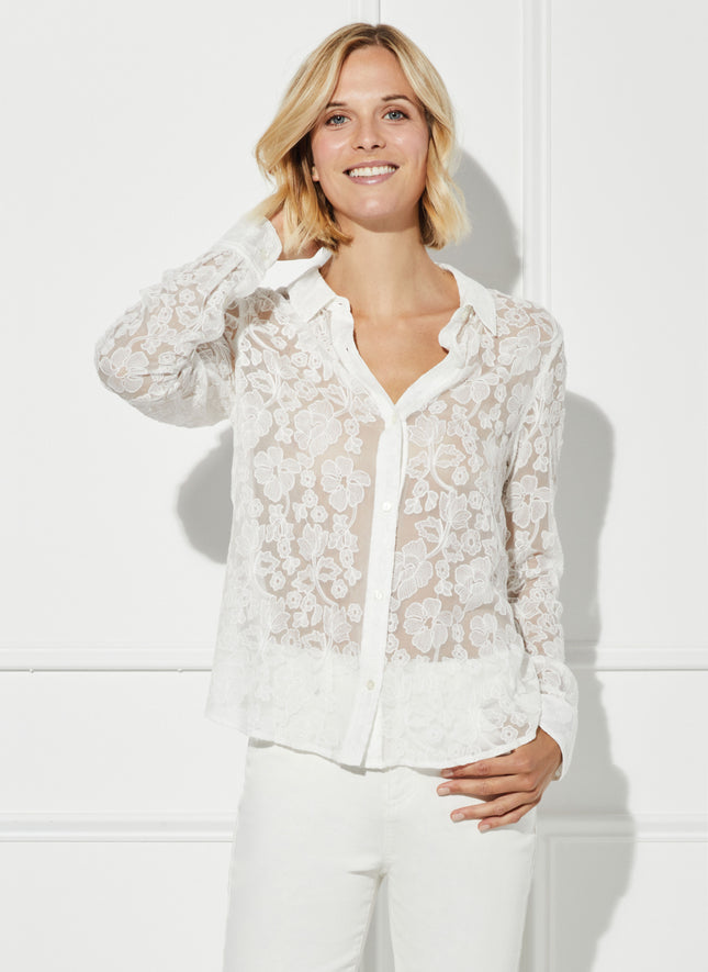 Streep Embroidered Silk Easy Shirt