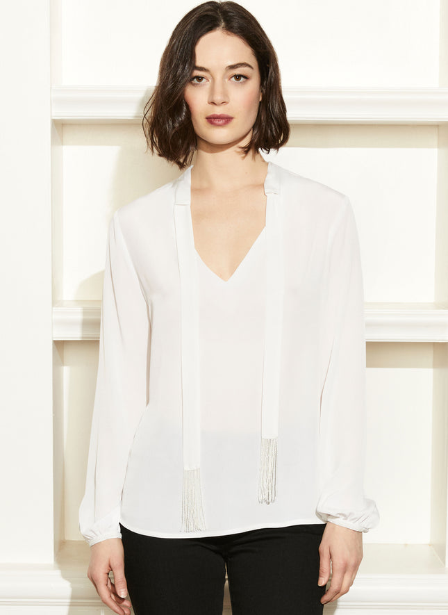 Hayworth Beaded Tie Blouse