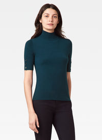 Mock Neck Sweater with Button Sleeve Detail
