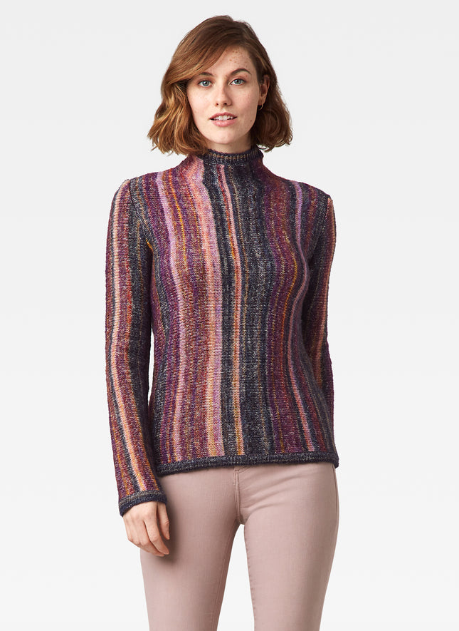 Funnel Neck Spacedye Yarn Sweater