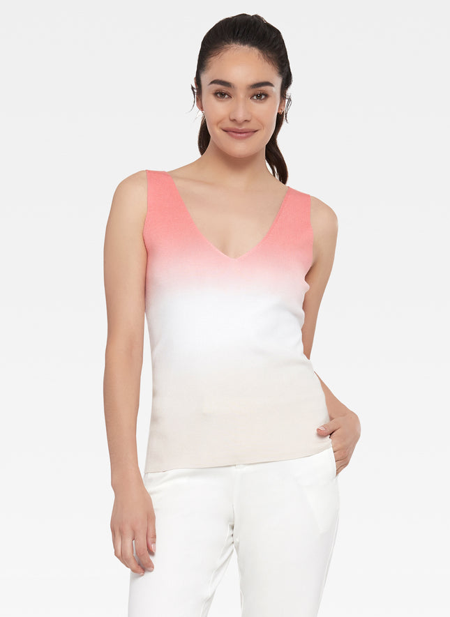 V-Neck Ombre Dip Dye Tank Sweater