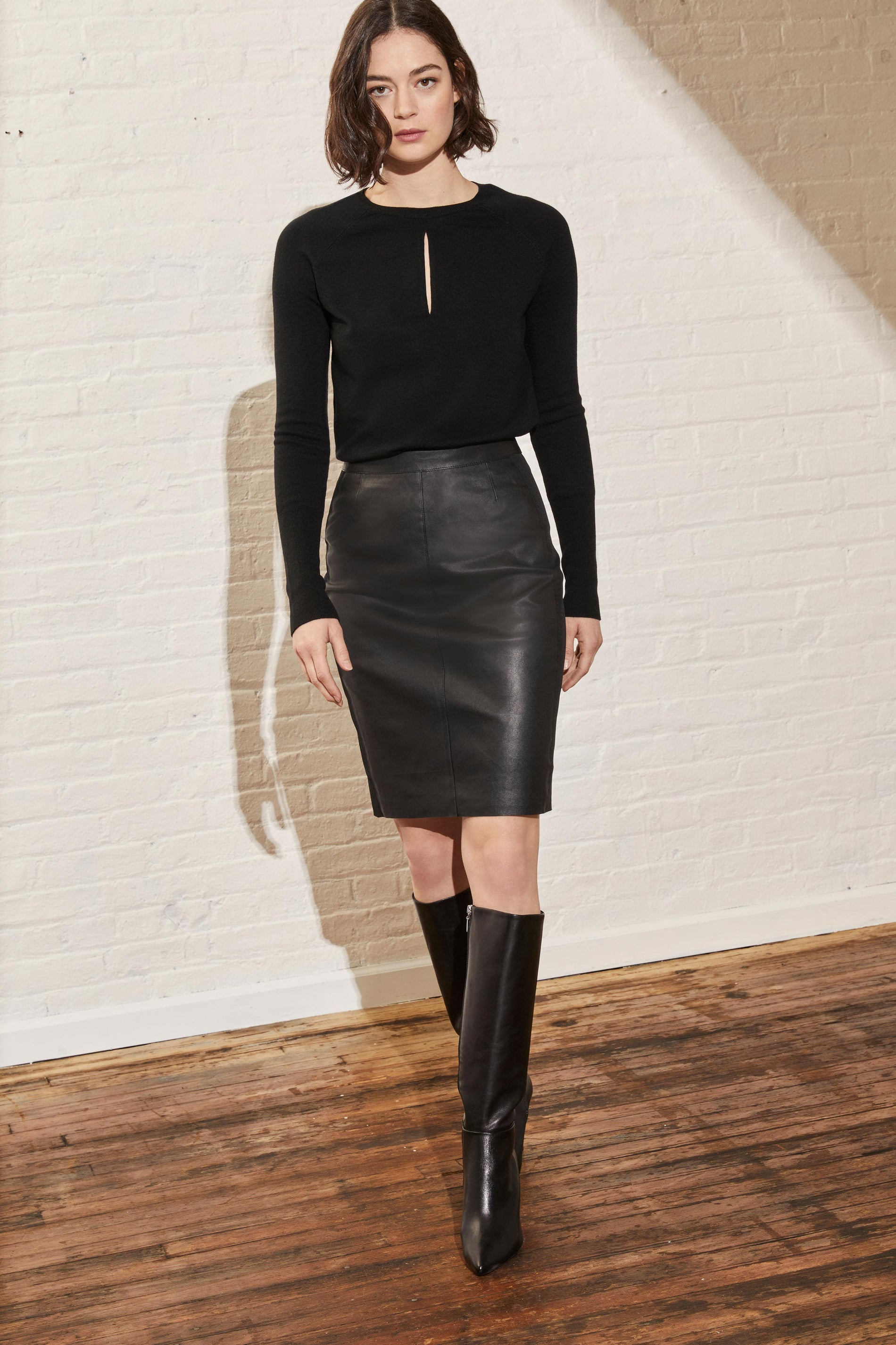 Stretch Leather and Ponte Pencil Skirt