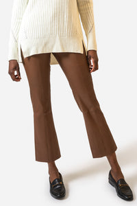 Stretch Leather Crop Flare Pant
