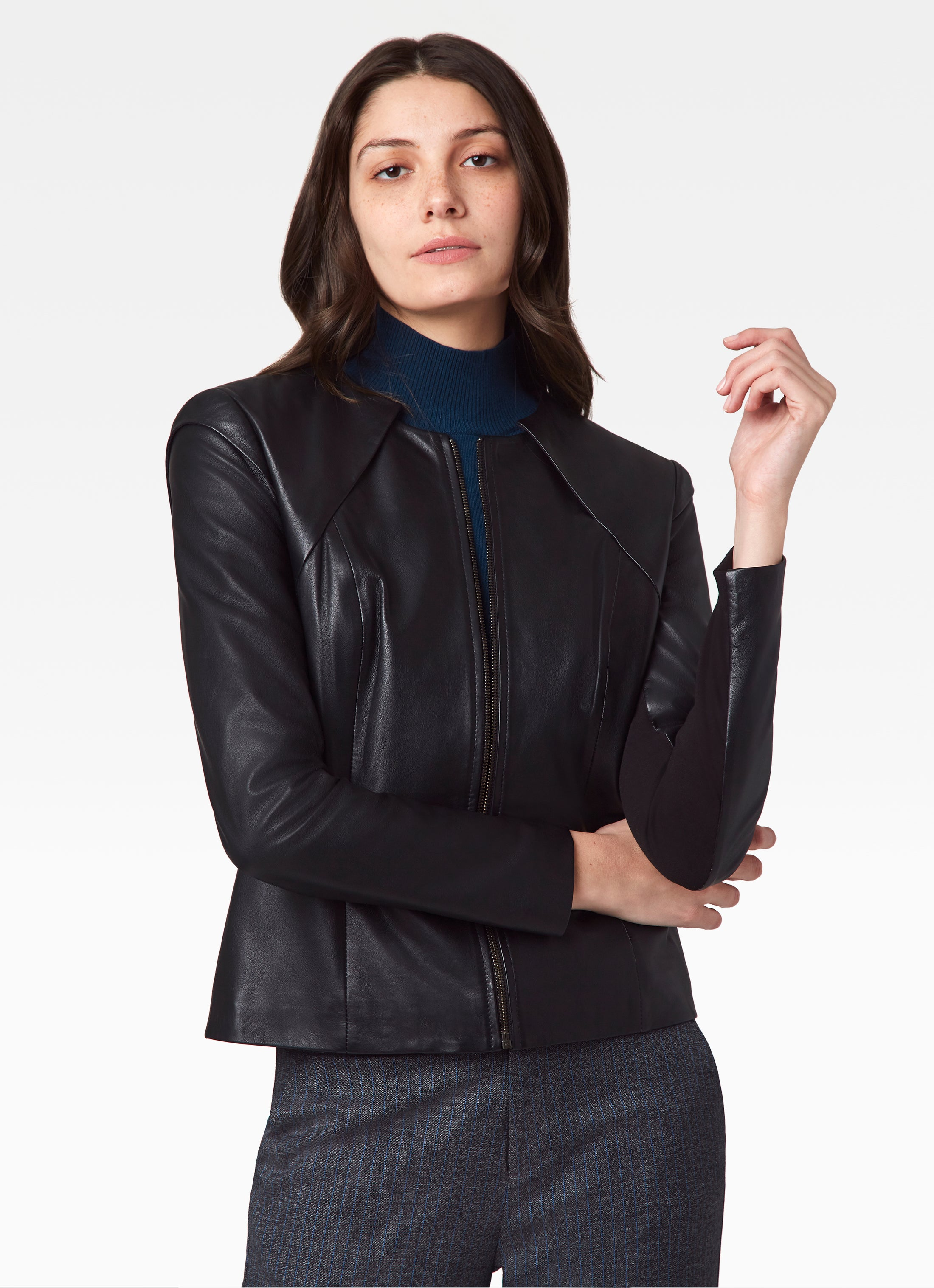 Leather Jacket with Knit Back Panel