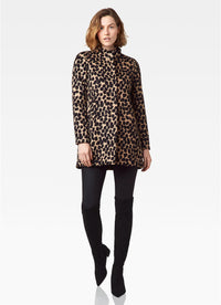 Printed Funnel Neck Coat