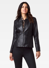 Leather Jacket with Hidden Zip Detail