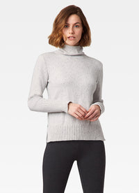 Cotton Tweed Mock Neck