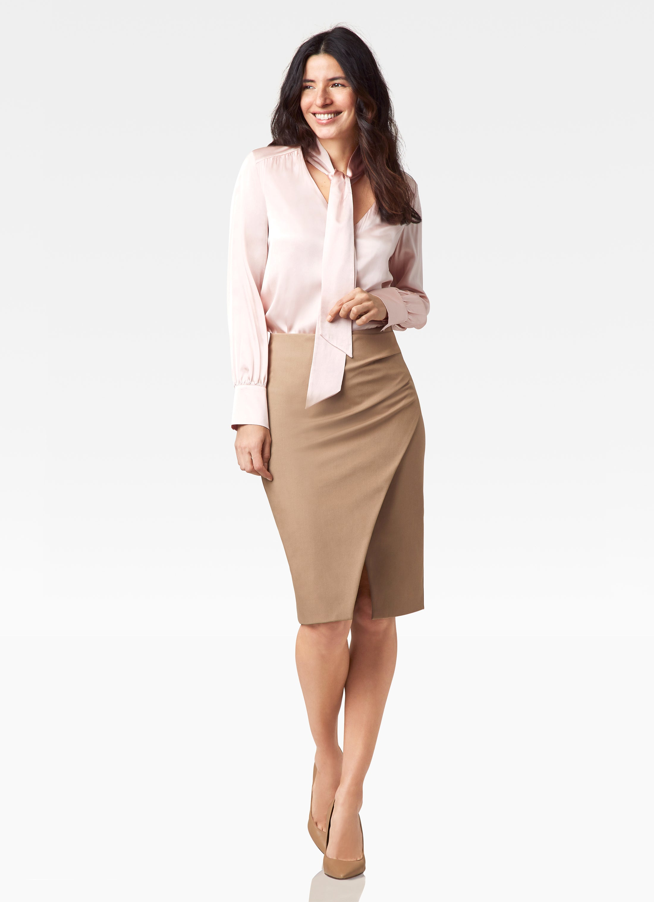 Stretch Suiting Faux Wrap Skirt