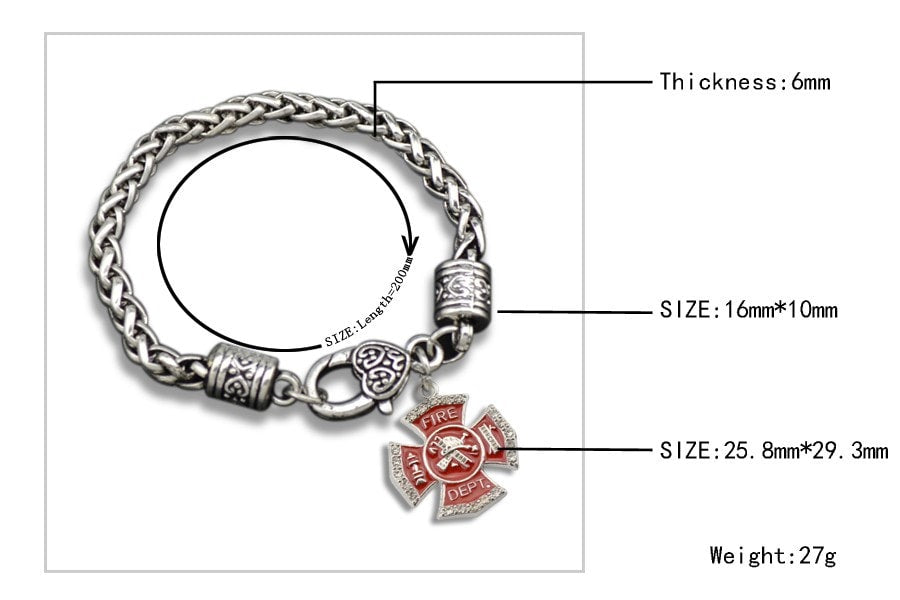 Firefighter Emblem - Metal Linked Bracelet - FREE Shipping - 60% Off!