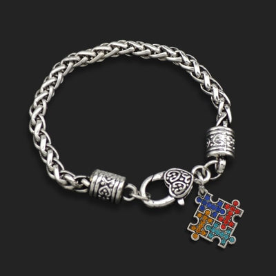 Autism Puzzle Piece - Metal Linked Bracelet - FREE Shipping - 60% Off!