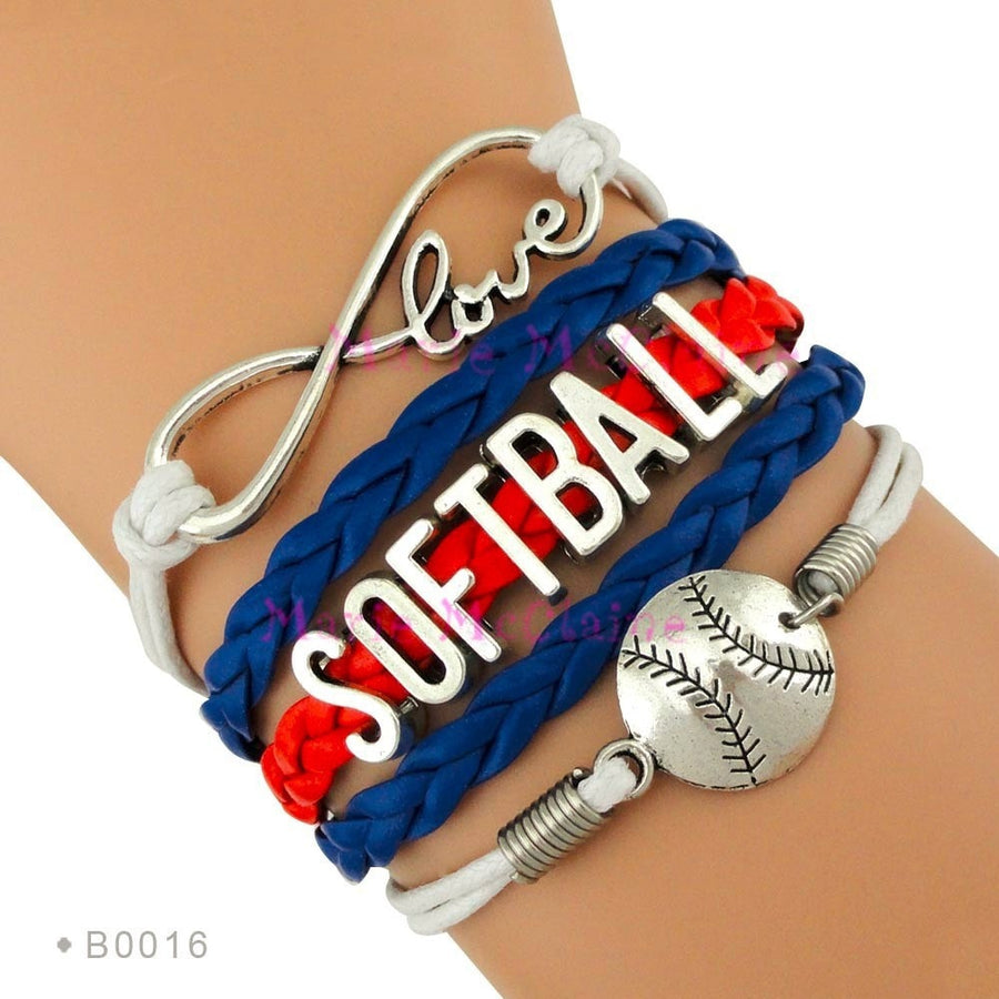 Love Softball braided bangle bracelet - FREE Shipping