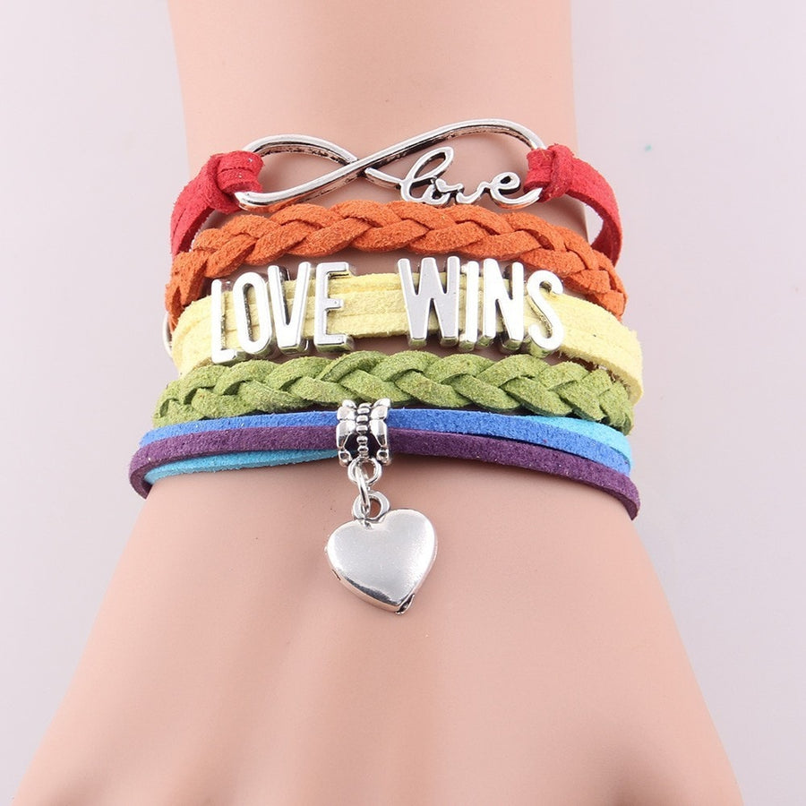 Gay Pride Braided Bangle Bracelet - FREE Shipping