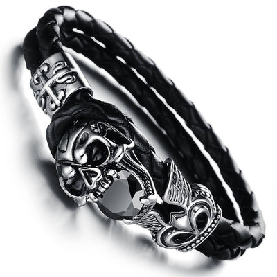 Raiders Skull Bracelet - Genuine Leather - FREE Shipping