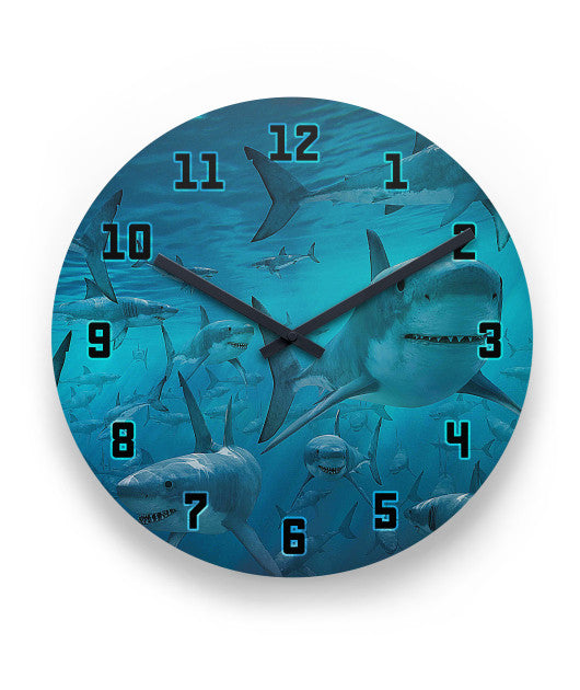 Great White Sharks Clock