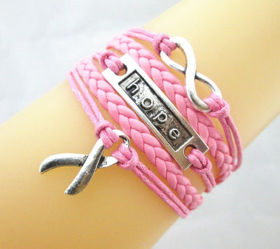 Breast Cancer Hope Bracelet - Multiple Colors