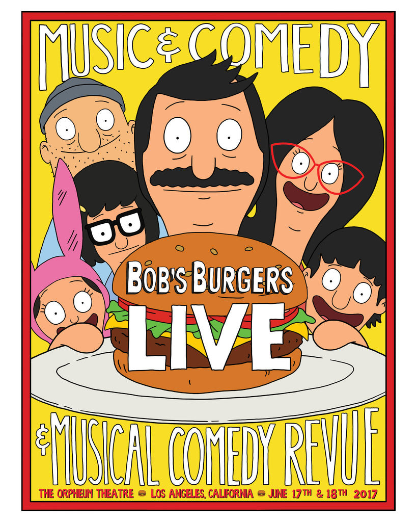 Bob's Burgers LIVE family 18x24 poster - (ORPHEUM PICKUP ONLY)