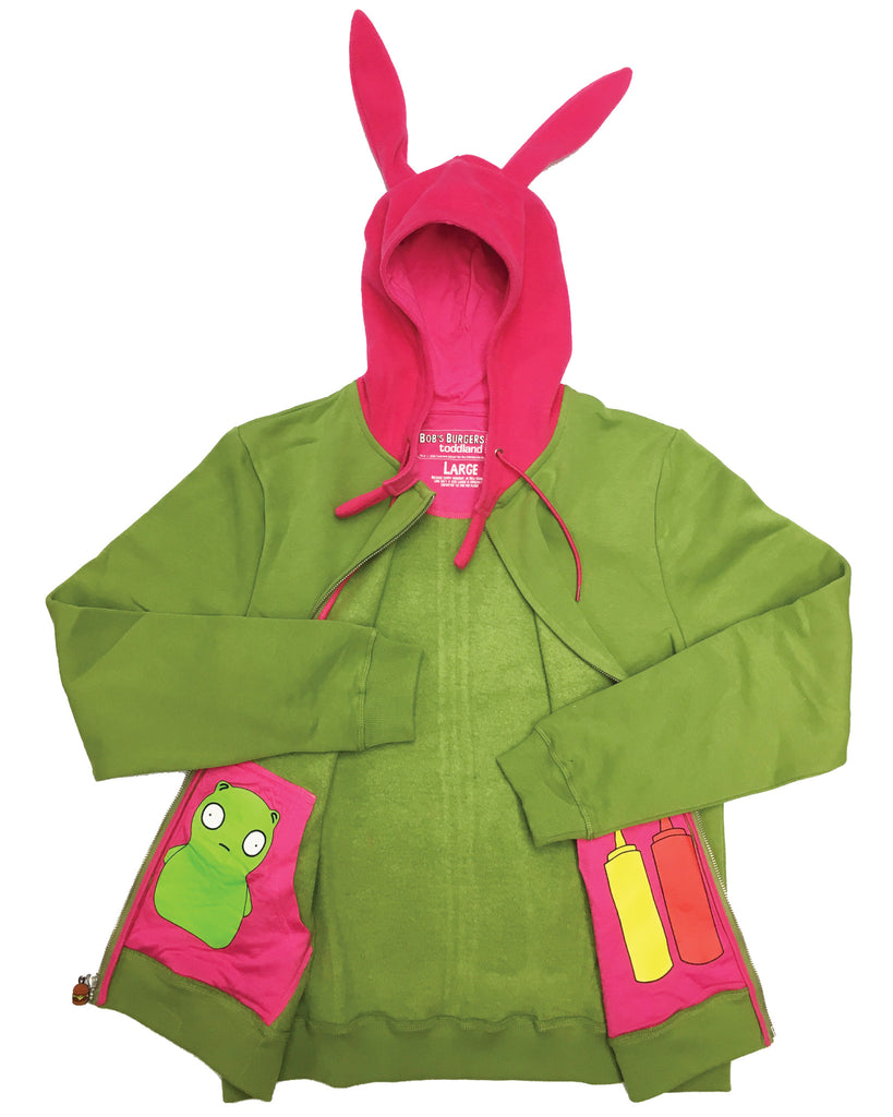 SDCC 2016 Louise Bunny Ears Hoody Fleece - green/pink  le of 200 (BOB'S BURGERS LIVE/ORPHEUM PICKUP ONLY)