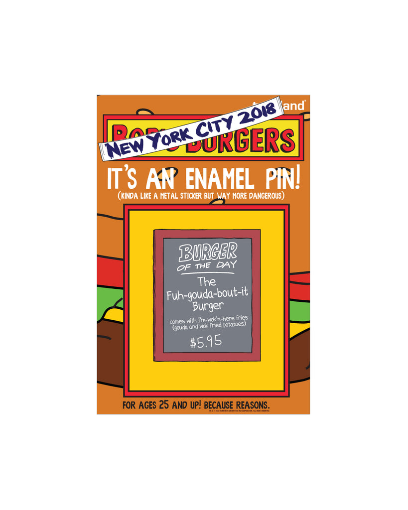 "NYC 2018 Bob's Burgers ""Burger of the Day"" enamel pin"" limited to 150pcs"