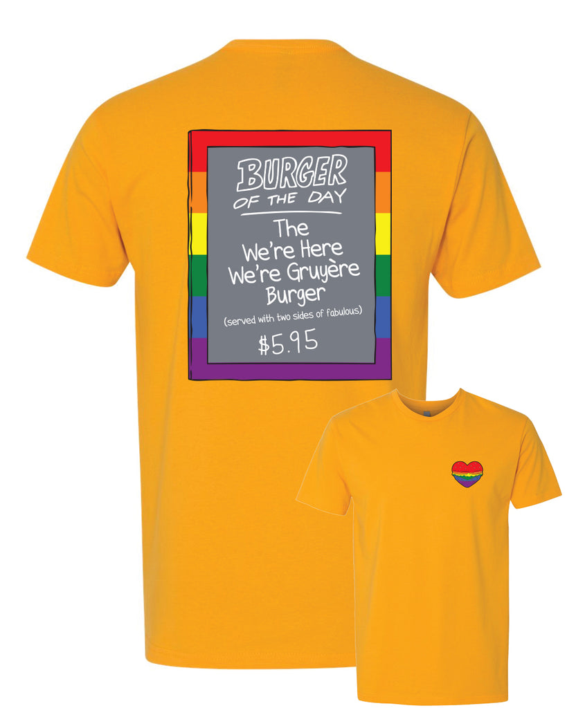 Pride 2020 - GOLD - Bob's Burgers Burger of the Day tee (pre-order ships 9/15)