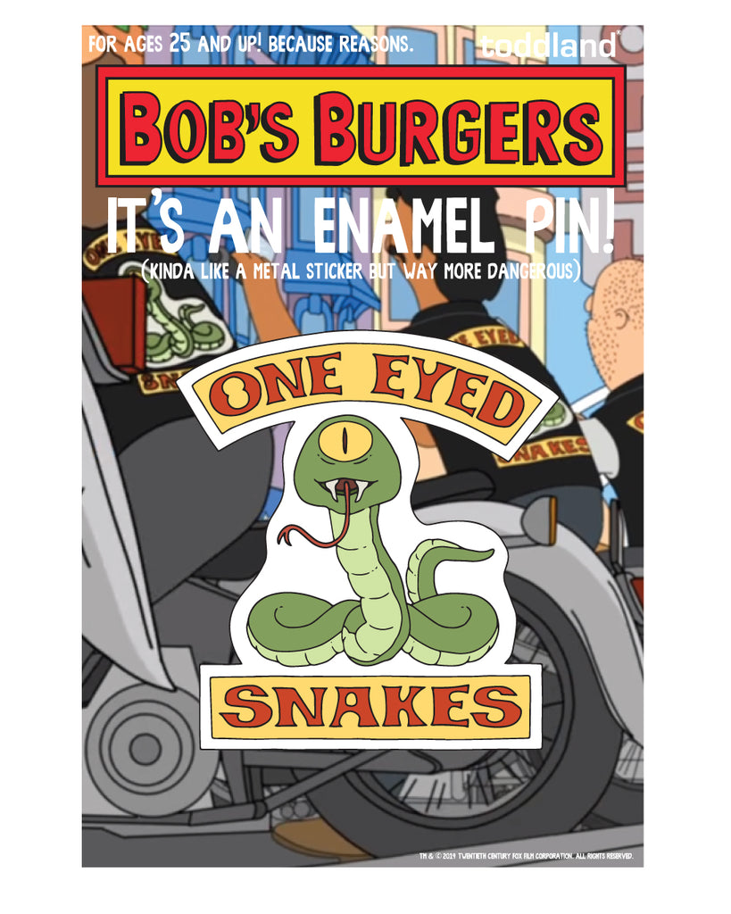 2019 SDCC Bob's Burgers One Eyed Snakes Badge pin