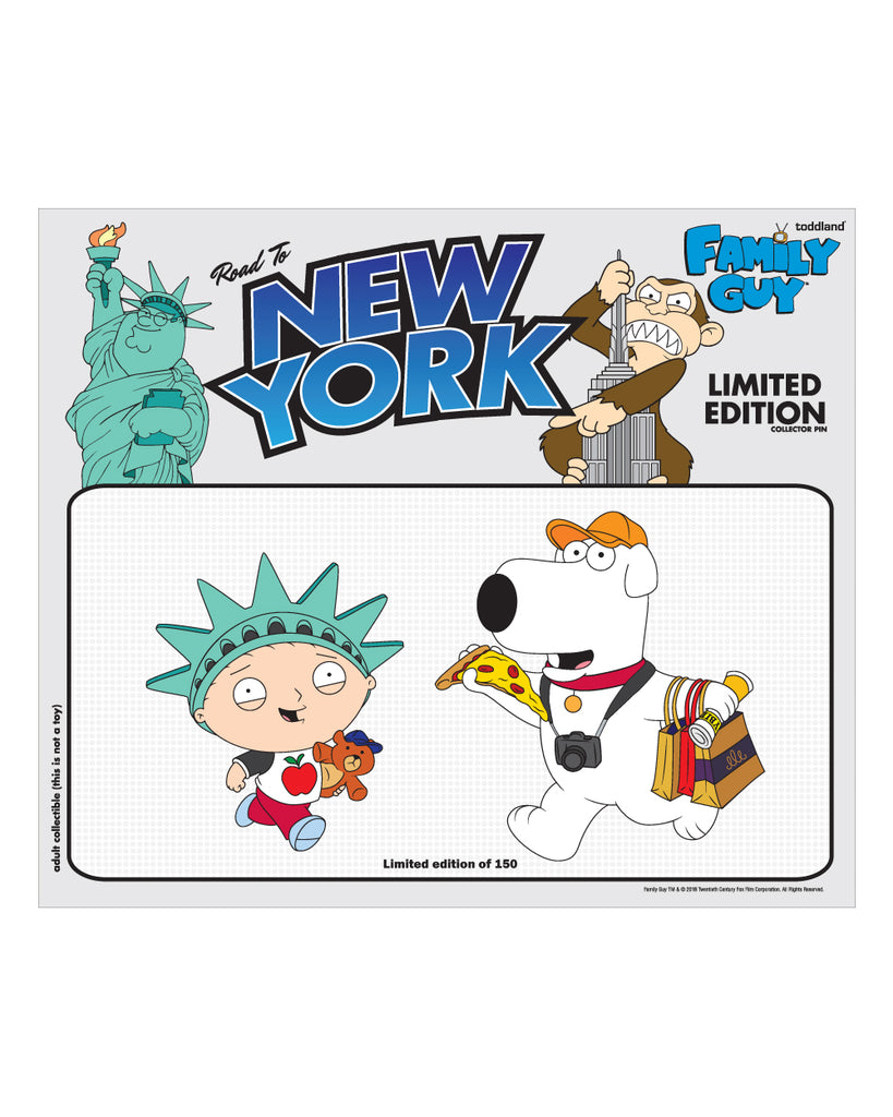 "NYC 2018 Family Guy ""Road to New York"" two enamel pin set limited to 150pcs (shipping week of 10/8)"