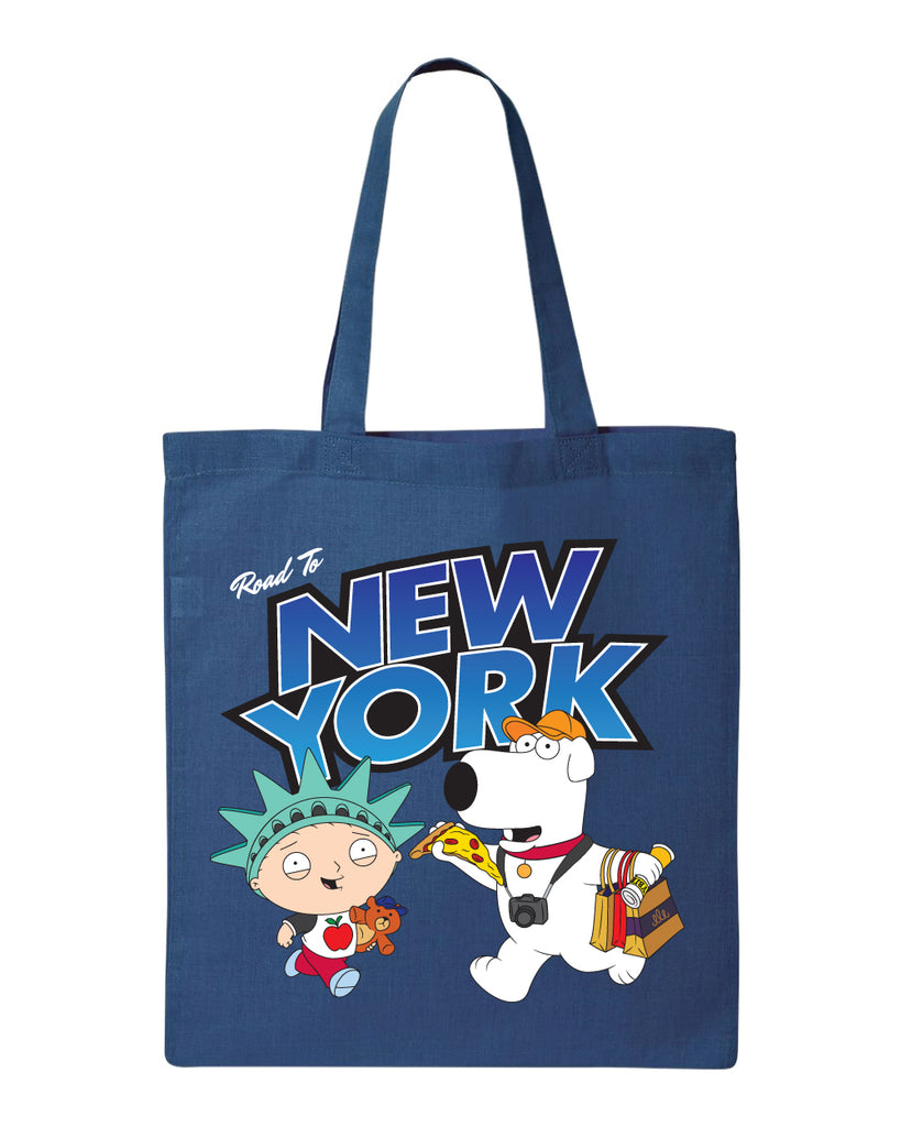 "NYC 2018 Family Guy ""Road to New York"" tote bag blue (shipping week of 10/8)"
