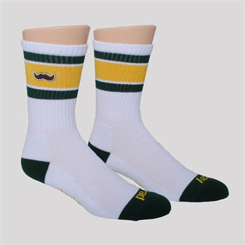 athletic socks - Green/yellow with stache