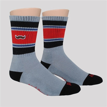 athletic socks - black/red with stache