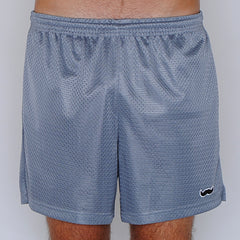 mesh stache (see what we did there) mesh gym shorts - silver/gray