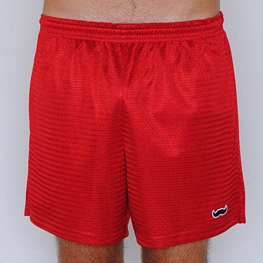 mesh stache (see what we did there) mesh gym shorts - red