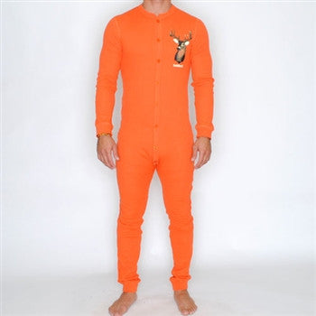 hunter orange with deer union suit