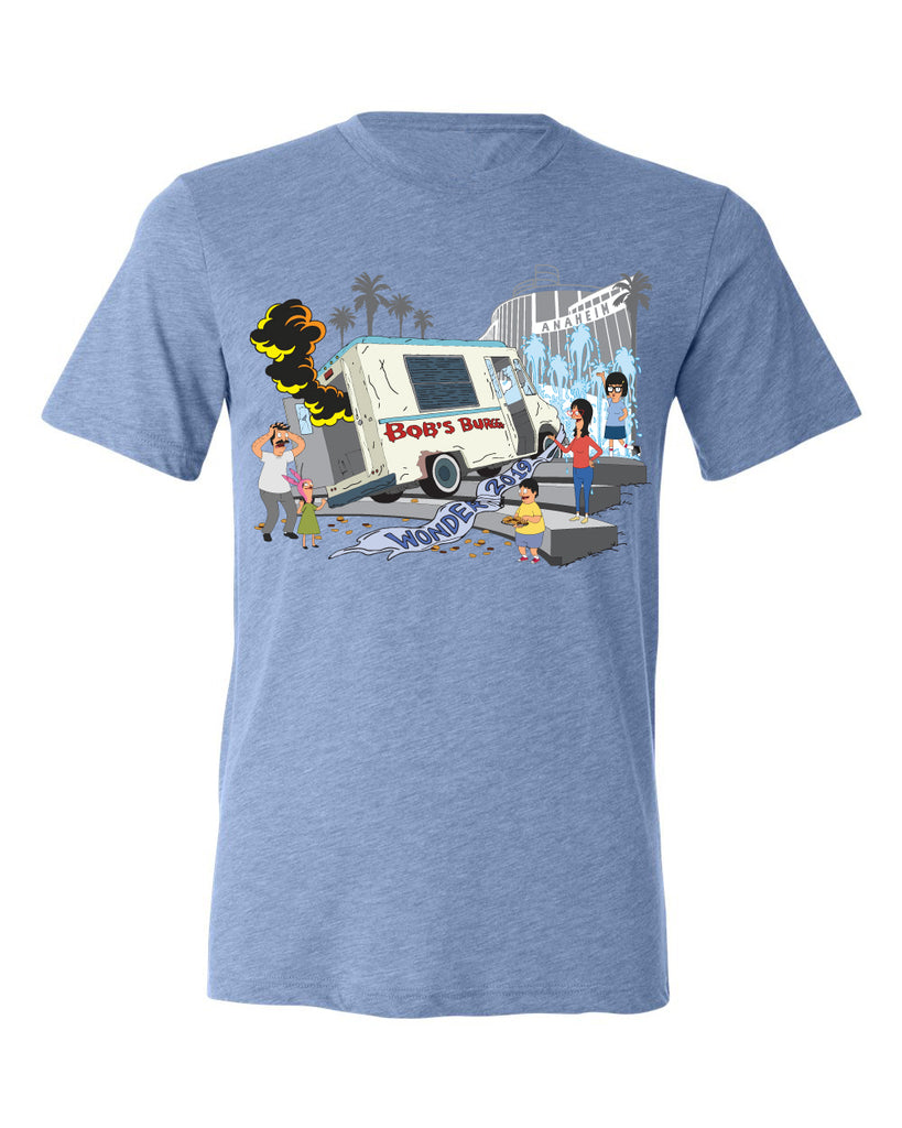 2019 Wondercon Bob's Burgers Fountain Truck tee – blue triblend (pickup only)