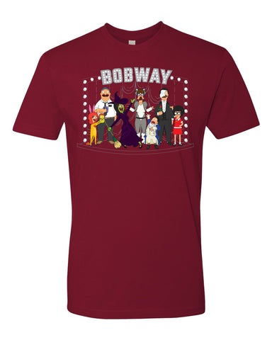 "NYC 2018 Bob's Burgers ""Bobway"" tee in dark cardinal red (shipping week of 10/8)"
