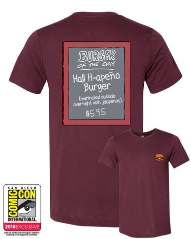 SDCC 2018 Exclusive Burger of the day Tee Solid Maroon Triblend (SDCC pickup only)