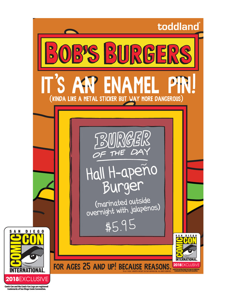 SDCC 2018 Exclusive Burger of the Day pin (SDCC pickup only)