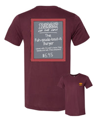 "NYC 2018 Bob's Burgers ""Burger of the Day"" tee in maroon (shipping week of 10/8)"