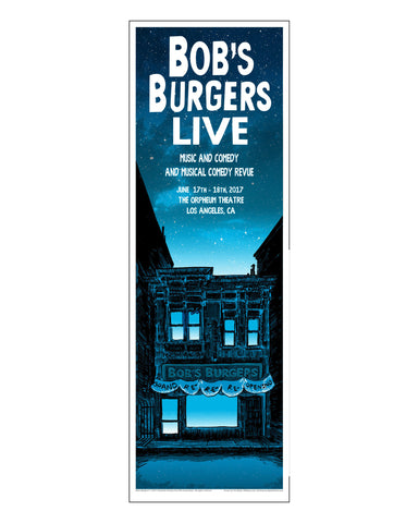 Bob's Burgers x Tim Doyle Unreal Estate 12x36 Art Print - Blue/Saturday  (ORPHEUM PICKUP ONLY)