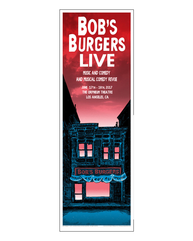 SDCC 2017 - Bob's Burgers x Tim Doyle Unreal Estate 12x36 Art Print for Bob's Burgers LIVE - Red/Sunday  (SDCC Pickup only))